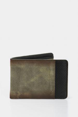 Billetera casual leyton de cuero para hombre contraste de color